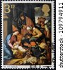 UNITED KINGDOM - CIRCA 1967: A stamp printed in Great Britain shows The Adoration of the Shepherds, School of Seville, circa 1967 - stock photo