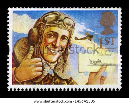 UNITED KINGDOM - CIRCA 1994: A stamp printed in Great Britain shows the comic hero, character of classic children's story - Biggles, circa 1994