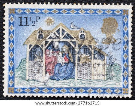 UNITED KINGDOM - CIRCA 1979: A stamp printed in Great Britain, shows Three Kings Following Star, without inscription, from the series Christmas, circa 1979 - stock photo