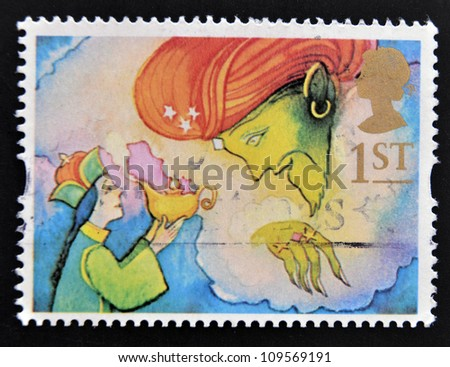 UNITED KINGDOM - CIRCA 1985: a stamp printed in the Great Britain shows Aladdin and the Genie, circa 1985