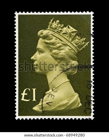 UNITED KINGDOM - CIRCA 1977: A stamp printed in the UK featuring the portrait of Queen Elizabeth II, circa 1977 - stock photo