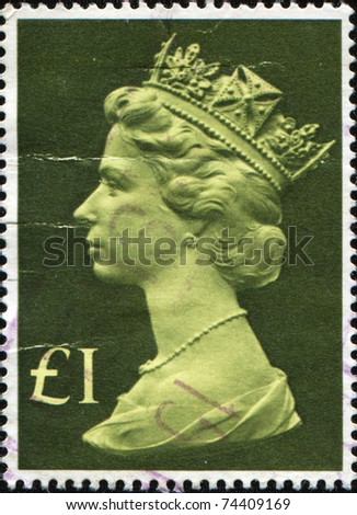 UNITED KINGDOM - CIRCA 1977: A stamp printed in the UK shows Queen Elizabeth II, circa 1977 - stock photo