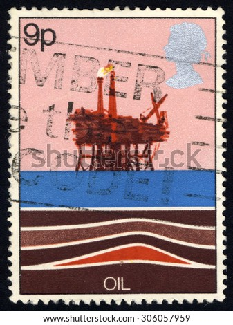 UNITED KINGDOM - CIRCA 1978: A stamp printed in the United Kingdom shows Energy Resources - Oil, circa 1978 - stock photo