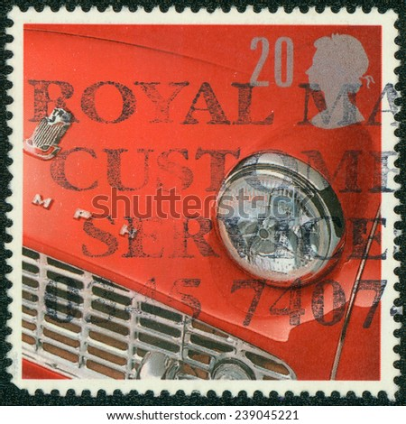 UNITED KINGDOM - CIRCA 1996: A stamp printed in the United Kingdom shows image of the front end of a Triumph automobile, circa 1996 - stock photo