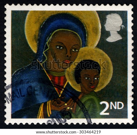UNITED KINGDOM - CIRCA 2005: A stamp printed in the United Kingdom shows The Black Madonna and Child from Haiti, circa 2005 - stock photo