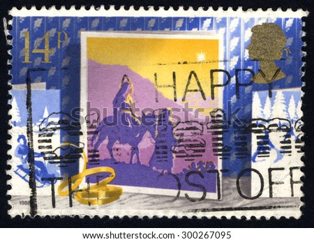 UNITED KINGDOM - CIRCA 1988: A stamp printed in the United Kingdom shows The Journey to Bethlehem, circa 1988.  - stock photo