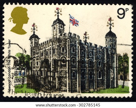 UNITED KINGDOM - CIRCA 1978: A stamp printed in the United Kingdom shows the White Tower in London, circa 1978 - stock photo