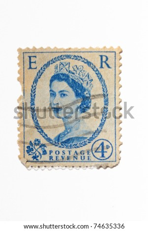 UNITED KINGDOM - CIRCA 1941: A stamp printed in UK shows Queen Elisabeth, circa 1941 - stock photo
