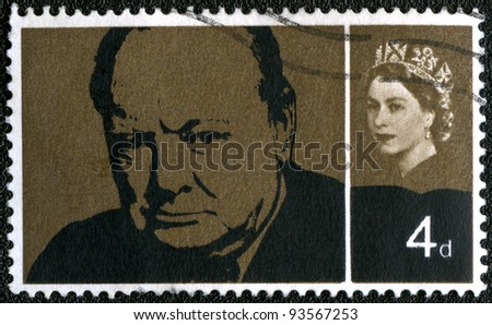 UNITED KINGDOM - CIRCA 1965: A stamp printed in UK, shows Sir Winston Spencer Churchill (1874-1965), statesman and WWII leader, circa 1965 - stock photo