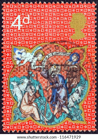 "UNITED KINGDOM - CIRCA 1970: A stamp printed in United Kingdom from the ""Christmas "" issue shows Shepherds and Apparition of the Angel, circa 1970."