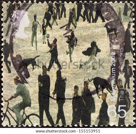 "UNITED KINGDOM - CIRCA 2000: A stamp printed in United Kingdom from the ""Millennium Projects (5th series). Art and Craft"" issue shows People of Salford (Lowry Centre, Salford), circa 2000.  - stock photo"