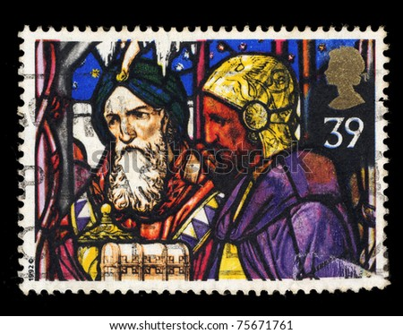 UNITED KINGDOM - CIRCA 1992: A stamp printed in United Kingdom shows Christmas. Stained glass windows, circa 1992