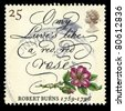 UNITED KINGDOM - CIRCA 1996: A stamp printed in United Kingdom shows death bicentenary of robert burns, 1759- 1796, (O my Luves's like a red, red rose), circa 1996 - stock photo