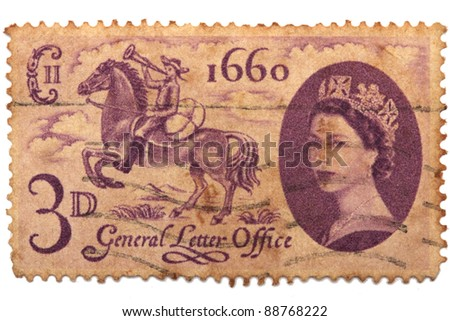 UNITED KINGDOM - CIRCA 1960: A stamp printed in United Kingdom shows Establishment of General Letter Office, circa 1660 - stock photo