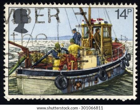 UNITED KINGDOM - CIRCA 1981: A stamp printed in United Kingdom shows image of Fishing, circa 1981 - stock photo