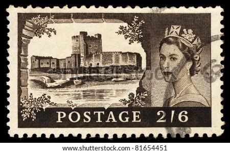 UNITED KINGDOM - CIRCA 1965: A stamp printed in United Kingdom shows image of Queen Elizabeth II, Postage 2/6, circa 1965 - stock photo