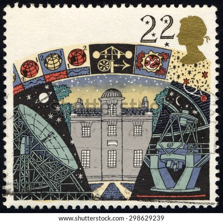 UNITED KINGDOM - CIRCA 1990: A stamp printed in United Kingdom shows image of the Armagh Observatory, Jodrell Bank Radio Telescope and La Palma Telescope,Astronomy. circa 1990. - stock photo