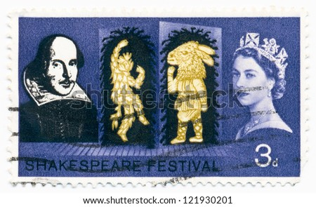 UNITED KINGDOM - CIRCA 1964: A stamp printed in United Kingdom shows portraits of Elizabeth II , Shakespeare and Characters of the play A Midsummer Night's Dream, circa 1964