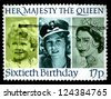 "UNITED KINGDOM - CIRCA 1986: A stamp printed in United Kingdom shows portraits of Elizabeth II (in 1928, 1942 and 1952), inscriptions and series ""Her Majesty the Queen, sixtieth Birthday"", circa 1986 - stock photo"