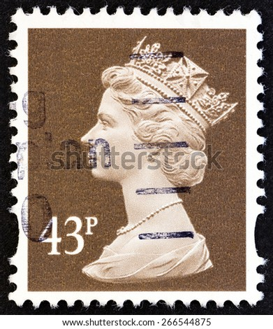 UNITED KINGDOM - CIRCA 1996: A stamp printed in United Kingdom shows Queen Elizabeth II, circa 1996.  - stock photo