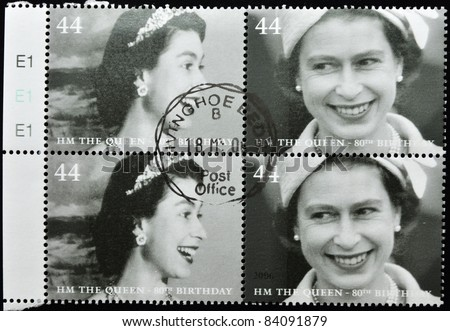 UNITED KINGDOM - CIRCA 2002: A stamp printed in United Kingdom shows Queen Elizabeth II, serie, circa 2002. - stock photo