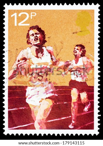 UNITED KINGDOM - CIRCA 1980: A stamp printed in United Kingdom shows runners, circa 1980