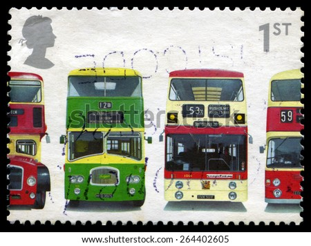 UNITED KINGDOM - CIRCA 2001: A used British postage stamp celebrating the Double-Decker Bus, circa 2001. - stock photo