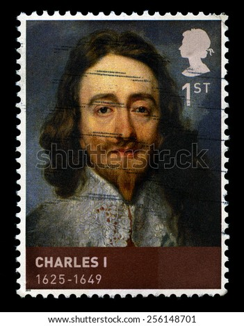 UNITED KINGDOM - CIRCA 2010: A used British postage stamp depicting a portrait of King Charles I, circa 2010. - stock photo