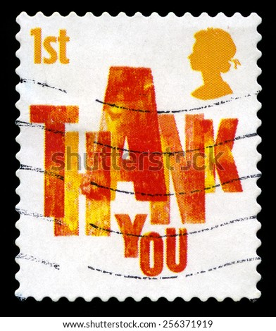 UNITED KINGDOM - CIRCA 2006: A used British postage stamp depicting a THANK YOU message, circa 2006. - stock photo