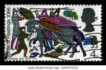 UNITED KINGDOM - CIRCA 1966: A used British Postage Stamp depicting an illustration of the 1066 Battle of Hastings, circa 1966. - stock photo