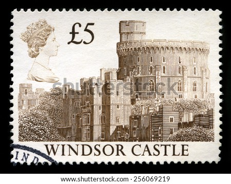 UNITED KINGDOM - CIRCA 1993: A used British postage stamp depicting an image of Windsor Castle, circa 1993. - stock photo