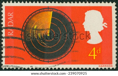 UNITED KINGDOM - CIRCA 1967: A used postage stamp printed in Britain celebrating British Discovery and Invention showing a Radar Screen, circa 1967 - stock photo