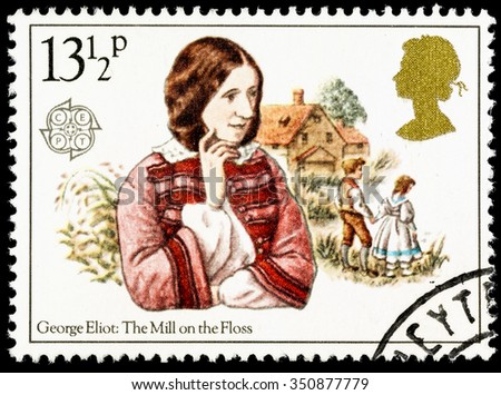 UNITED KINGDOM - CIRCA 1980: A used postage stamp printed in Britain celebrating Famous Authoresses, showing George Eliot and The Mill on the Floss - stock photo
