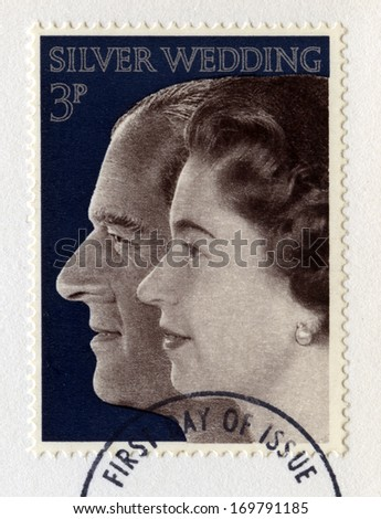 UNITED KINGDOM - CIRCA 1972: A vintage British postage stamp celebrating the Royal Silver Wedding Anniversary of Her Majesty Queen Elizabeth II and Prince Phillip, circa 1972. - stock photo