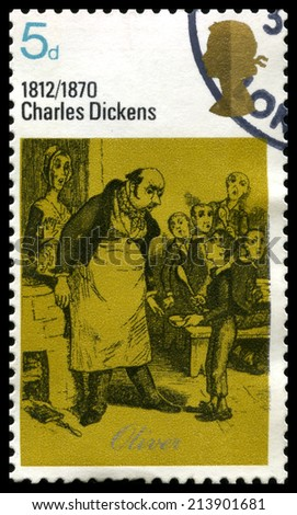 UNITED KINGDOM, CIRCA 1970: A vintage British postage stamp commemorating the works of famous English novelist Charles Dickens, circa 1970. - stock photo