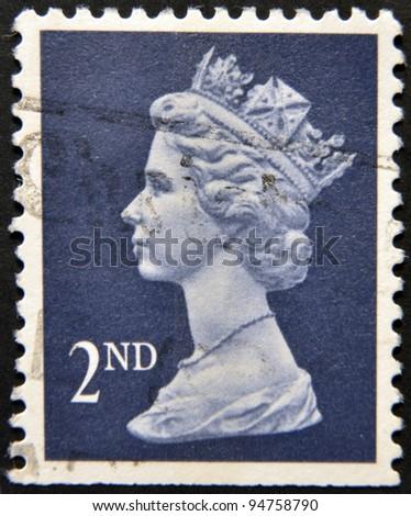 UNITED KINGDOM - CIRCA 2010: An English stamp printed in Great Britain shows Portrait of Queen Elizabeth, circa 2010. - stock photo