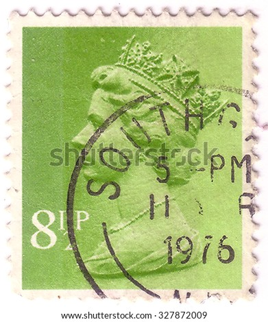 UNITED KINGDOM - CIRCA 1976: An English Used First Class Postage Stamp showing Portrait of Queen Elizabeth in light green circa 1976. - stock photo