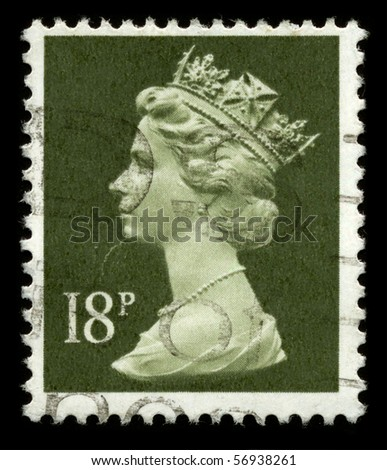UNITED KINGDOM - CIRCA 1974: An English Used First Class Postage Stamp showing Portrait of Queen Elizabeth in light green circa 1974. - stock photo