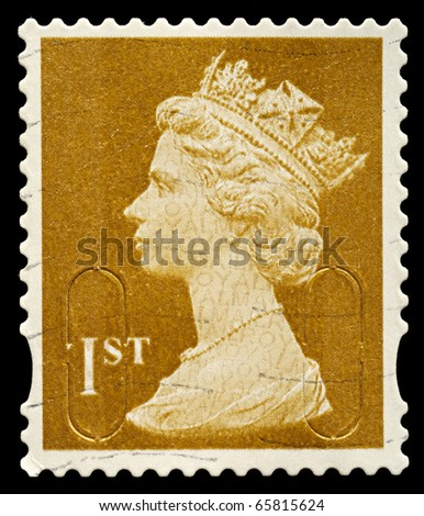 UNITED KINGDOM - CIRCA 2010: An English Used First Class Postage Stamp showing Portrait of Queen Elizabeth 2nd, circa 2010 - stock photo