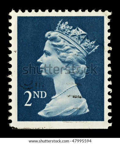 UNITED KINGDOM - CIRCA 1989: An English Used Second Class Postage Stamp showing Portrait of Queen Elizabeth 2nd, circa 1989 - stock photo