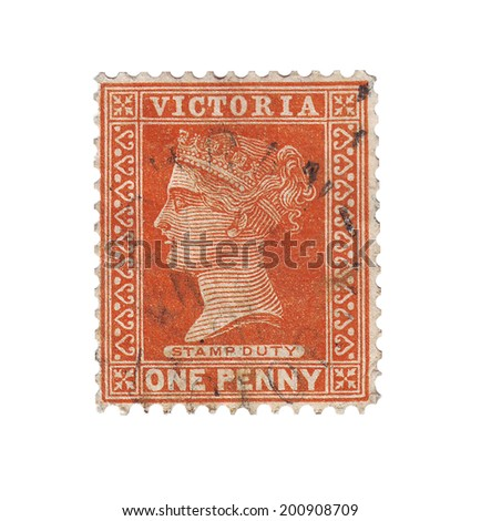 UNITED KINGDOM - CIRCA 1880: An Old British Victorian Used Penny Postage Stamp, circa 1880 - stock photo