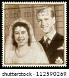 UNITED KINGDOM - CIRCA 1997: British Postage Stamp celebrating the Golden Anniversary of the 1947 Royal Wedding of Queen Elizabeth 2nd, showing wedding picture, circa 1997 - stock photo