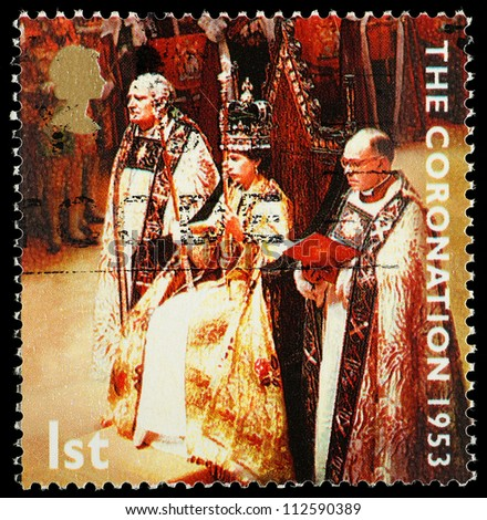 UNITED KINGDOM - CIRCA 2003: British Postage Stamp celebrating the 50th Anniversary of the Coronation in 1953 of Queen Elizabeth 2nd, circa 2003 - stock photo