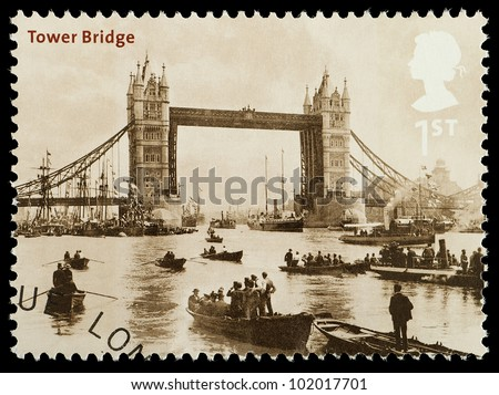 UNITED KINGDOM - CIRCA 2002 : English Used Postage Stamp showing Tower Bridge as it looked in 1894 London, printed and isued in England, Great Britain, circa 2002 - stock photo