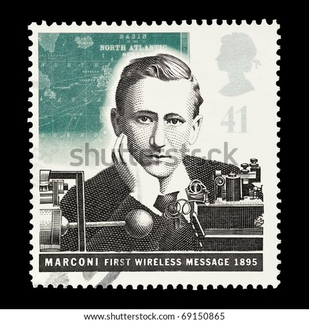UNITED KINGDOM - CIRCA 1995: mail stamp printed in the UK featuring Marconi's first wireless transmission, circa 1995