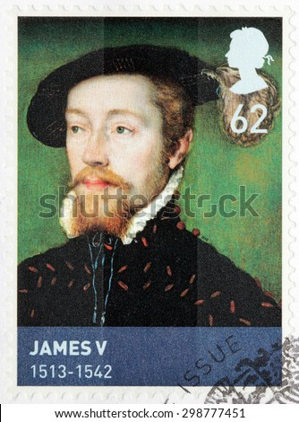 UNITED KINGDOM - CIRCA MARCH, 2010: A stamp printed by GREAT BRITAIN shows image portrait of King of Scotland James V - stock photo
