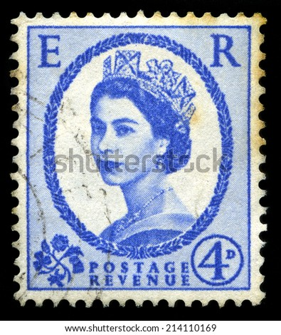 UNITED KINGDOM, CIRCA 1950s: A vintage British postage stamp depicting a portrait of Queen Elizabeth II, circa 1950s. - stock photo