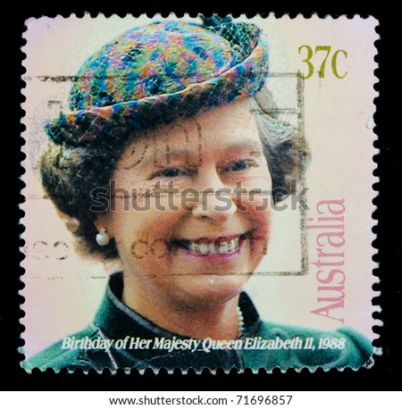 UNITED KINGDOM - CIRCA 2000s: An English Used First Class Postage Stamp showing Portrait of Queen Elizabeth circa 2000s - stock photo