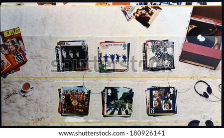 UNITED KINGDOM - CIRCA 2007:  stamps printed in Great Britain showing images of The Beatles album covers, circa 2007.  - stock photo