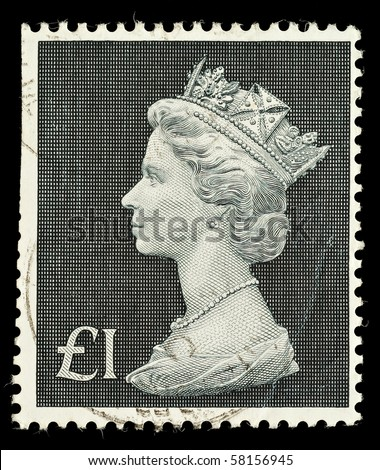UNITED KINGDOM - CIRCA 1970 to 1972: An English One Pound Used Postage Stamp showing Portrait of Queen Elizabeth 2nd, circa 1970 to 1972 - stock photo